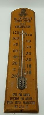Dr. Caldwell's Syrup Pepsin Large Thermometer Advertisement Wooden Sign