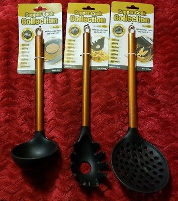 3 hard to find copper cook collection utensils Ladle Spaghetti and Skimmer