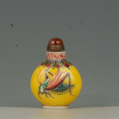 Chinese Exquisite Handmade insect pattern Glass snuff bottle