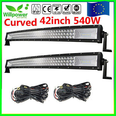 "7D Tri-Row 42""inch 540W Curved LED Light Bar Spot+Flood Combo Jeep Ford PK 240W"