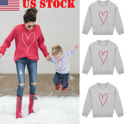 US Family Matching Outfits Long Sleeves MOTHER SON  Tee Tops hoodies US Stock