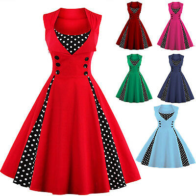 Women's Vintage 1950s 60s Rockabilly Pinup Housewife Evening Party Swing Dress