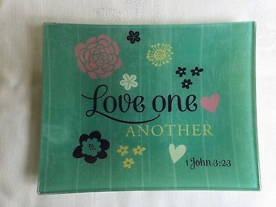 """Paula Scaletta""""Love One Another"""" Collectible Glass Plate  7"""" x 5-1/2"""""""