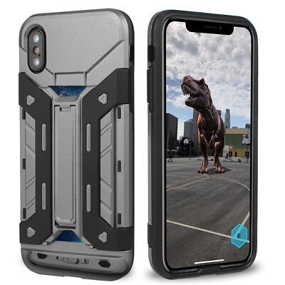 For iPhone X 8 7 Plus Card Slot Armor Shockproof Heavy Duty Stand Case Cover