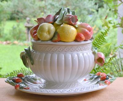 Retired FITZ & FLOYD Signature Collection FRUITS & FLOWERS Tureen w/ Underplate