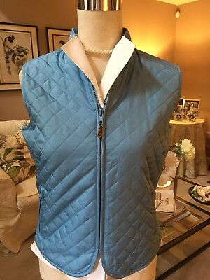 $165 J. MCLAUGHLIN Size Small Diamond Quilted Blue Silk Vest New W Tags