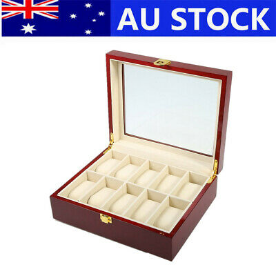 10 Grid Wooden Watch Box Display Storage Box for Jewelry Watches Glass Lid AU