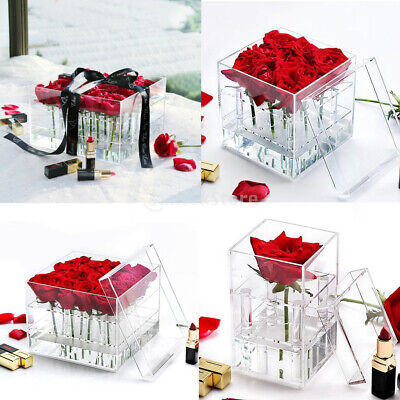 Cosmetic / Flower Clear Acrylic Holder Box Rose Bouquet Display Gift Box