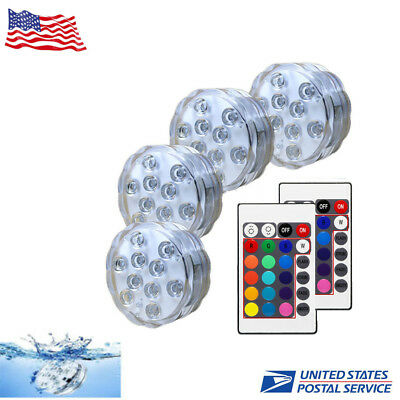 4X Swimming Pool Underwater fishing Light RGB LED Bulb Remote Control Vase Decor