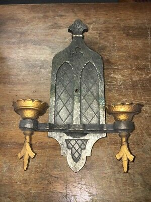 Beautiful Antique Cast Bronze Two Arm Sconce Gothic Arts Crafts Spanish Revival