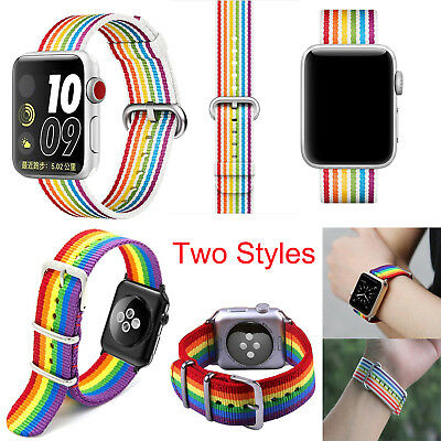 For iWatch Apple Watch 42mm 38mm Woven Pride Edition Nylon Band Rainbow Stripe