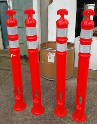 Lot of 4 Orange Safety Cones Traffic Work Parking Reflective Bands (No Base) 46""