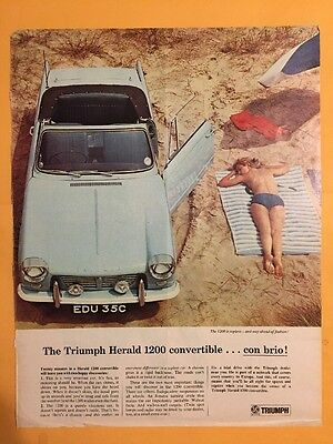 Vintage Triumph Herald Sales Topless Convertible Ad Excellent Collectable