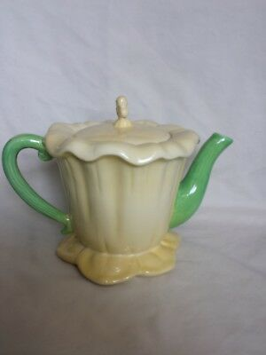 Beautiful Yellow Porcelain Beatrix Potter Style Flower Tea Pot