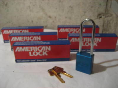 "Lot of 6 - American Lock Series 1100 Blue Padlocks with 2 keys,  3"" Shank"