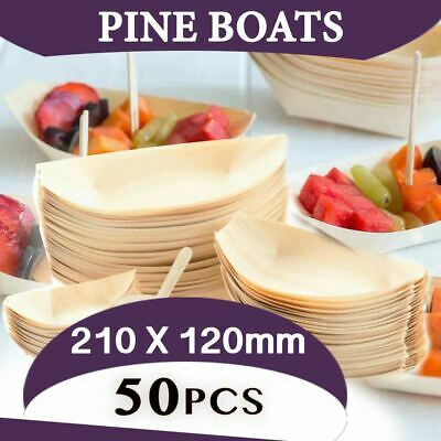 Pine Boat Eco Plate Bamboo Bowls Extra Large 50 pcs Serving Dish Tray Boat