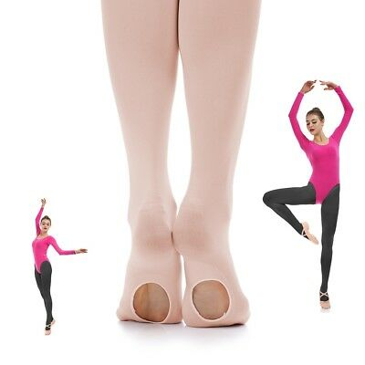 Ballet Convertible Tights Pink Velvet Pantyhose Dance Socks for Girls and Women