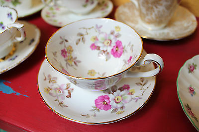 Royal Chelsea English Bone China Gold Gilt Floral Blossom Tea Cup Sacuer Set