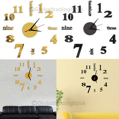 DIY 3D Number Mirror Wall Clock Modern Decoration Sticker for Home Living Room