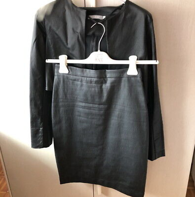 Tailleur in ecopelle opaca Please, colore nero, gonna tg. XS, giacca tg. S
