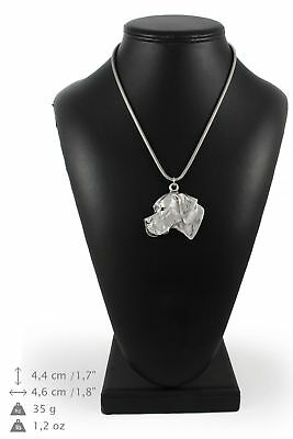 Pointer - silver plated necklace with a dog on silver chain, Art Dog USA