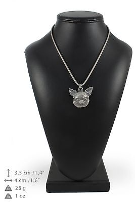 Chihuahua - silver plated necklace with a dog on silver chain, Art Dog USA
