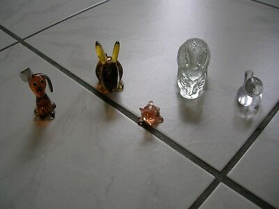 Glasfiguren Set Hund, Fuchs, 2 Hasen und Vogel