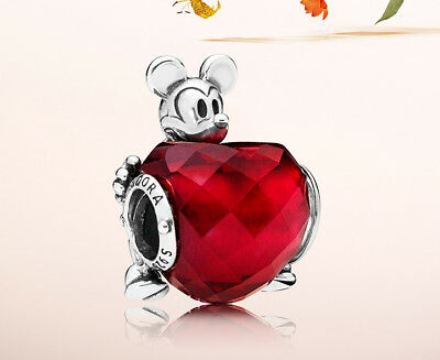 Genuine Pandora Silver Disney Mickey Love Heart Charm Bead 797168NFR