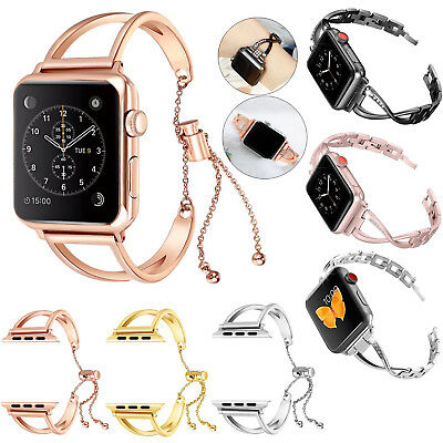 Lady Stainless Steel Wrist Band Bangle Cuff Bracelet For Apple Watch Series 1~4