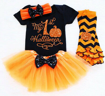 UK 2PCS Newborn Baby Girl Halloween Romper Tops Tulle Tutu Dress Outfits Clothes