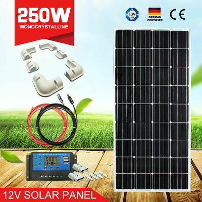 12V 250W Solar Panel Kit Mono Cell& 20A Regulator & 5M Cables & 6PC Bracket
