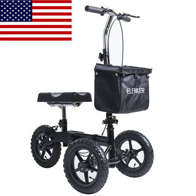 ELENKER Steerable Knee Walker Scooter Crutches Alternative for Adults Drive Car