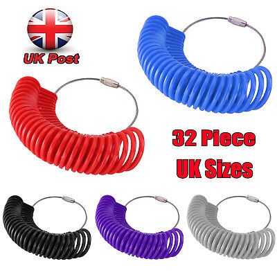Measure Finger Sizer Ring Gauge All UK Sizes A-Z+6 Plastic 32 Piece Jewelry Tool