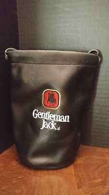 Rare Gentleman Jack Black Horseman Leather drawstring bag.