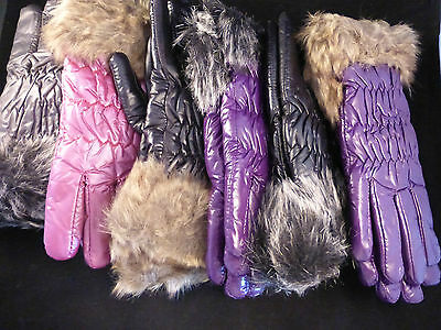 Beautiful Ladies Faux Leather & Fur Trimmed Insulated Gloves - 5 Designs Medium