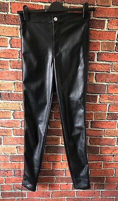 H&M Divided High Waist Rise Faux Leather Black Trousers Uk 12 Euro 38 Soft