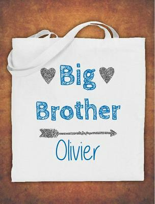 Personalised Big Brother Birthday Gift Kids Tote Bag Childrens Cotton White