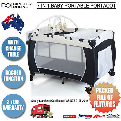 7 In 1 Baby Portacot Portable Cot Playpen Crib Bassinet w/ Mobile & Change Table