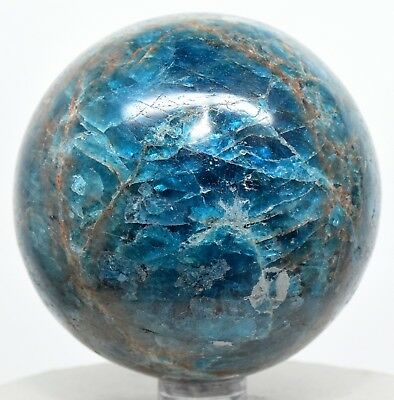 "2.5"" Rich Blue Apatite Sphere Natural Gemstone Crystal Mineral Ball - Madagascar"
