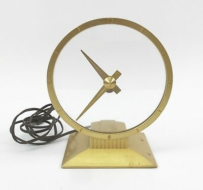 Vintage Mid-Century Jefferson Gold Hour Electric Mystery Clock Runs