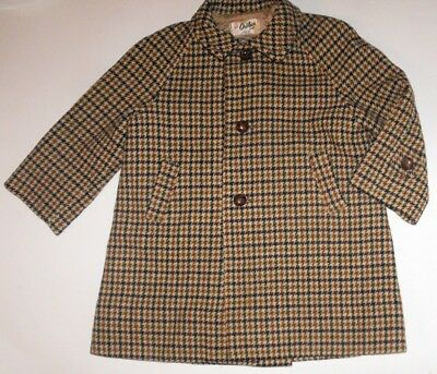Genuine Vintage Pure Wool Girl's Coat Brown Houndstooth Leather Buttons Oshlack