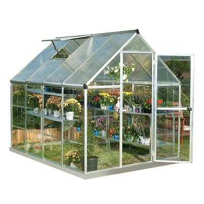 Palram HG5508PH Hybrid Greenhouse Hobby, 6' x 8', Silver, Plant Hangers Included