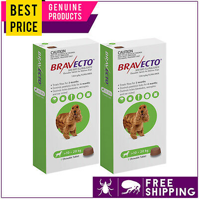Bravecto For Medium Dogs 10 to 20 Kg Green 2 Doses Flea and Tick Control
