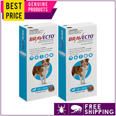 Bravecto For Large Dogs 20 to 40 Kg Blue 2 Doses Flea and Tick Control
