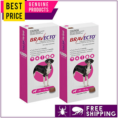 Bravecto For Extra Large Dogs 40 to 56 Kg Pink 2 Doses Flea and Tick Control