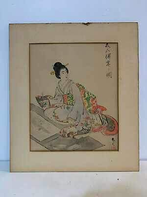 Antique Japanese Signed Watercolor Painting of Woman / Geisha Artist Painting