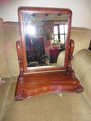 Antique Victorian wooden dressing table tilting swing mirror