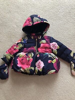 Ted Baker Girls Floral Quilted Coat Age 12- 18 Months - Beautiful