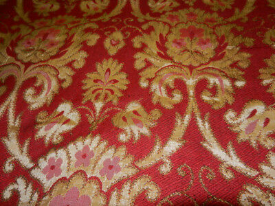 pair of large high-quality vintage Jacquard curtains red & gold 210cms drop
