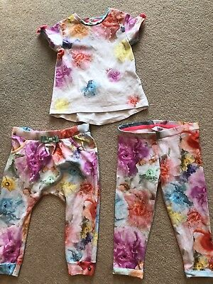 Beautiful Floral Ted baker girls outfit 12/18 months Top & Trousers X2